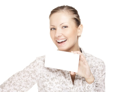 woman holding a business card and smiling Stock Photo - 15752436