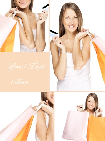 collage of a young happy woman doing shopping with credit card photo