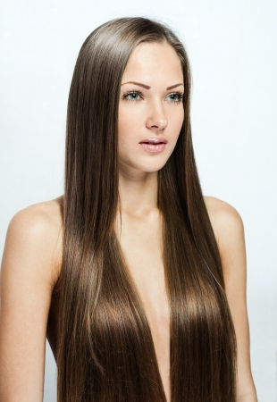 beautiful woman with long natural hair photo