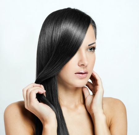 black hair , beautiful brunette woman with long natural hair , hairstyle