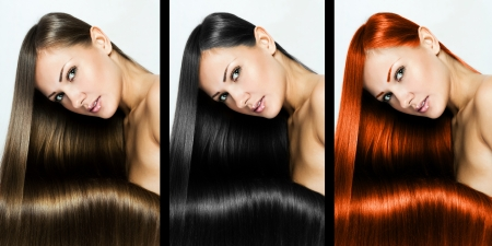 collage of a beautiful young woman , with long natural straight hair , mixed color , concept hairstyle photo