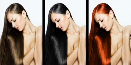 collage of a beautiful young woman , with long natural straight hair , mixed color , concept hairstyle Stock Photo