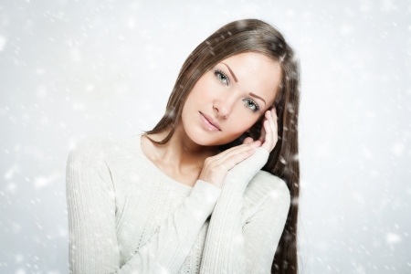 beautiful young woman , christmas photo