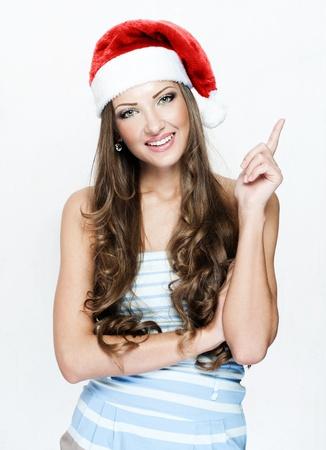 happy beautiful woman in santa Stock Photo - 16467556