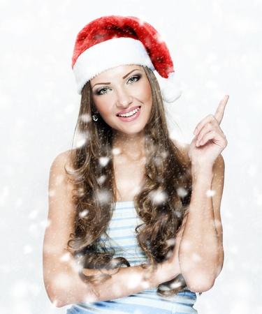 happy beautiful woman in santa Stock Photo - 16467541