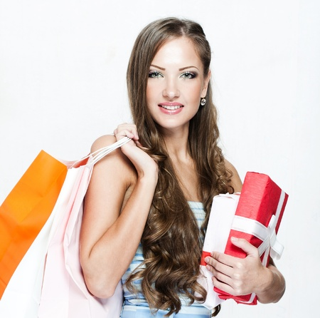 happy beautiful woman with shopping bags , christmas shopping , christmas gifts , sales Stock Photo - 16467499