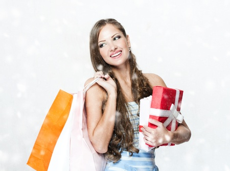 happy beautiful woman with shopping bags , christmas shopping , christmas gifts , sales Stock Photo - 16467502