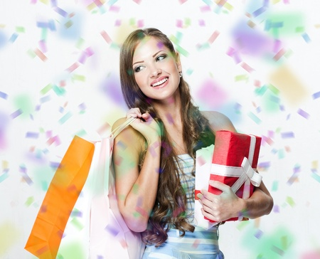 happy beautiful woman with shopping bags , christmas shopping , christmas gifts , sales Stock Photo - 16467515