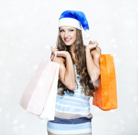 happy beautiful woman in santa hat Stock Photo - 16467461