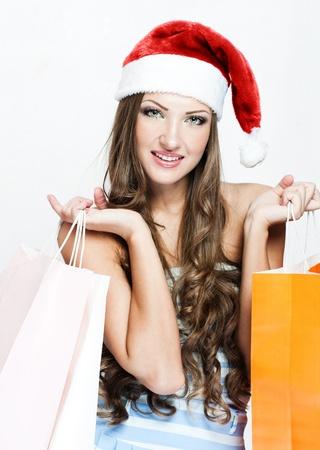 happy beautiful woman in santa hat Stock Photo - 16467554