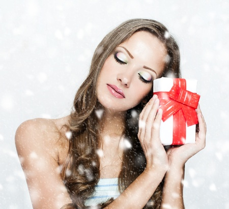 chritmas: happy beautiful chritmas woman with christmas gifts  , christmas shopping , sales Stock Photo