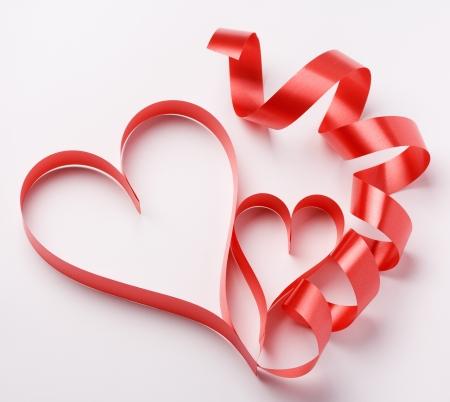 saint valentin coeur: deux coeurs de papier Saint-Valentin, la Saint-Valentin Banque d'images
