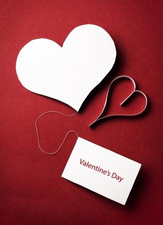 valentine s: two valentine paper hearts , valentine s day