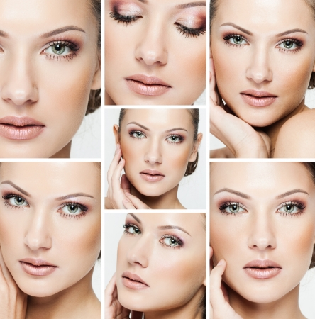 collage of a beautiful woman with perfect clean skin Stockfoto