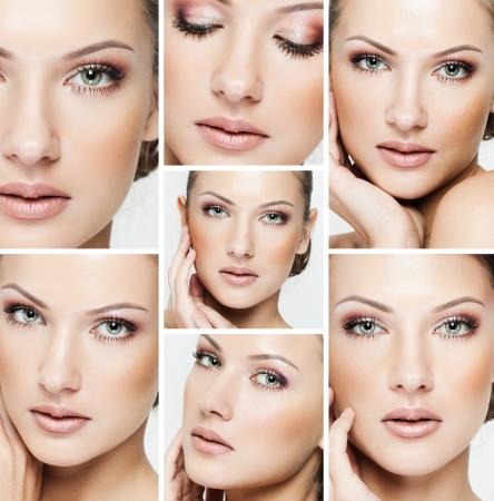 mooie vrouwen: collage van een mooie vrouw met perfecte schone huid Stockfoto