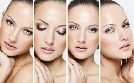 beauty care: collage of a beautiful woman with perfect clean skin Stock Photo