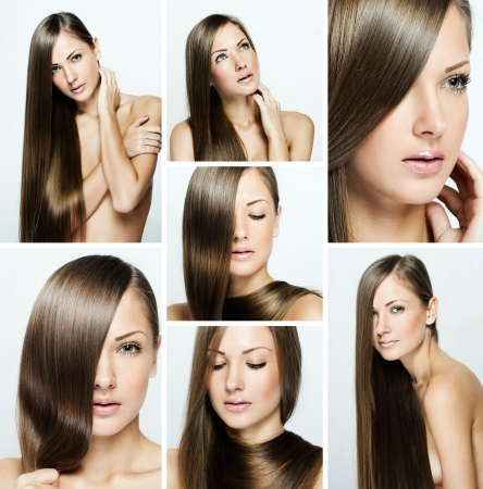 fashion hairstyle collage , natural long shiny healthy hair photo