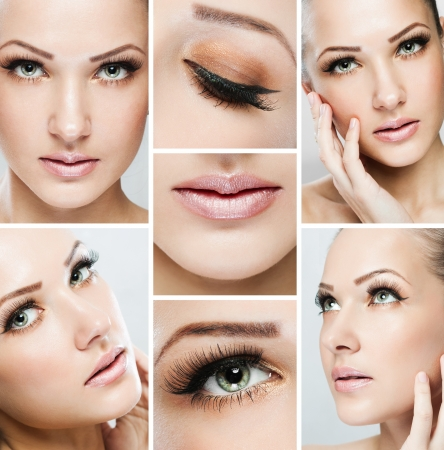 collage of a beautiful woman with perfect clean skin Stock Photo