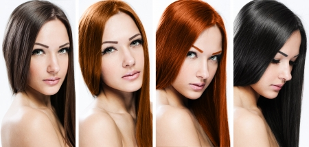 collage of a beautiful young woman , with long natural straight hai