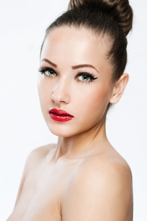 beauty eyes: closeup portrait of a beautiful woman with beauty face and clean face skin , glamour makeup