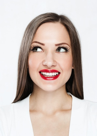closeup portrait of a smilin young happy woman photo