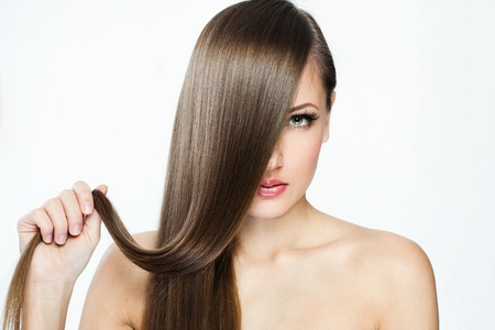 clean cut: Beautiful Woman with  Long Hair , beauty woman model , clean skin face , glamour makeup