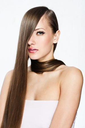 hair coloring: Beautiful Woman with  Long Hair , beauty woman model , clean skin face , glamour makeup