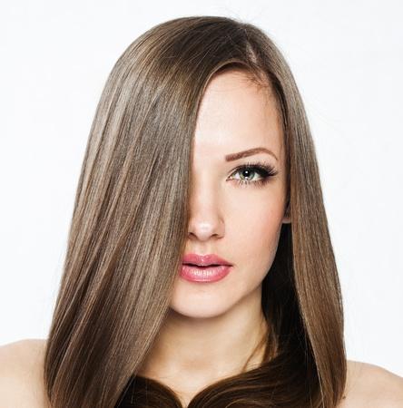 Mooie Vrouw met Lang Haar, schoonheid vrouw model, schone huid gezicht, glamour make-up