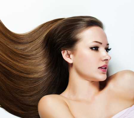 gray hair: Beautiful Brunette Girl. Healthy Long Hair. Beauty Model Woman. Hairstyle. Woman Spa