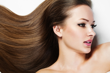 woman profile face: Beautiful Brunette Girl. Healthy Long Hair. Beauty Model Woman. Hairstyle. Woman Spa