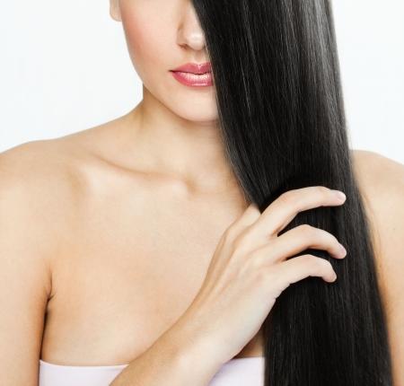 Beautiful Brunette Girl. Healthy Long Hair. Beauty Model Woman. Hairstyle. Woman Spa photo