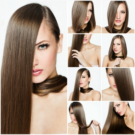 fashion hairstyle collage , natural long shiny healthy hair Stock Photo