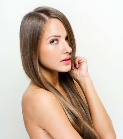 long straight hair: Woman with beauty long brown hair Stock Photo