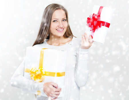 happy beautiful christmas woman with christmas gifts , christmas photo