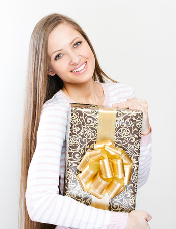 euphoria: happy beautiful christmas woman with christmas gifts , christmas shopping , sales Stock Photo