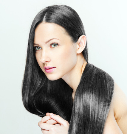 straight hair: Beautiful Woman with Long Hair , beauty woman model , clean skin face , glamour makeup Stock Photo