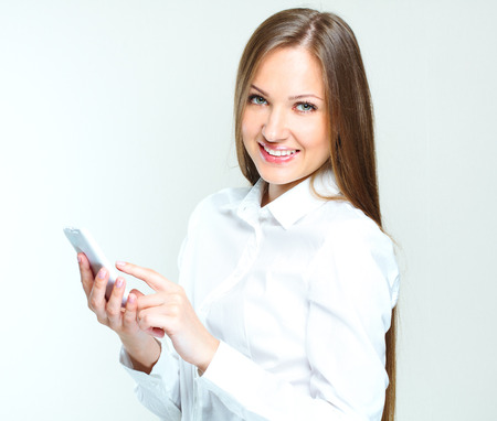 business woman phone: portrait of a succesful business woman using mobile phone  smartphone  internet surfing