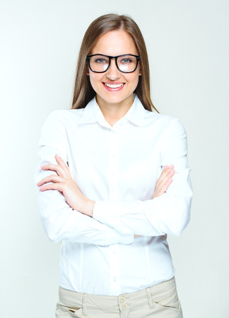 succesful: attractive business woman. smiling woman wearing glasses. succesful.