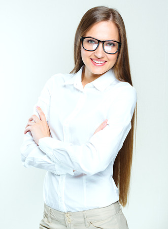 succesful woman: attractive business woman. smiling woman wearing glasses. succesful.