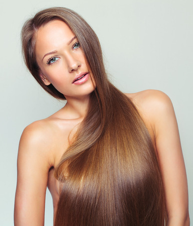 grey hair female: Beautiful Woman with Healthy Long Hair