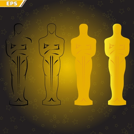 Awarding ceremony in the Academy of Actors oscar statuettes in a flat style