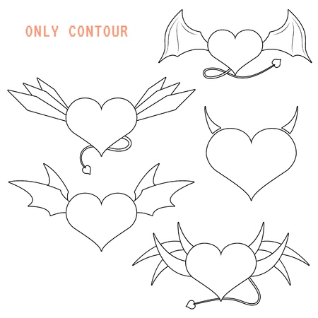 Icon of hearts with wings vector illustration set