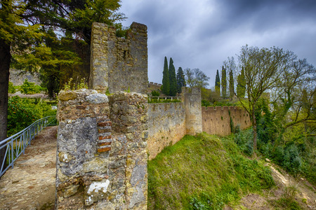 crenelation: The big strong wall of the castle at Tomar, Portugal.