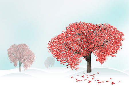 Red hearts on a tree  in winter. Holidays happy valentines day, love concept. Archivio Fotografico