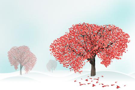 Rode harten op een boom in de winter. Gelukkige de valentijnskaartendag van de vakantie, liefdeconcept.