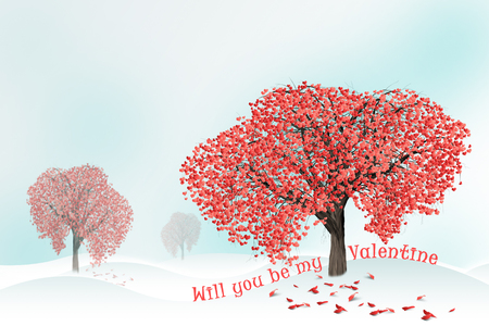 Red hearts on a tree  in winter. Holidays happy valentines day, love concept. Stock Photo