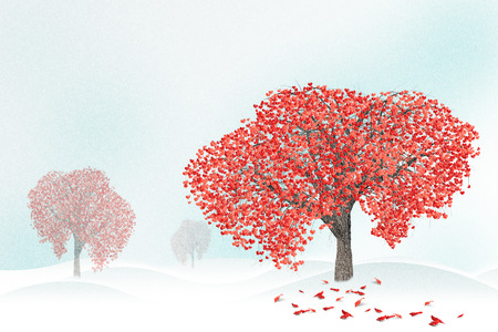 Red hearts on snowy tree  in winter. Holidays happy valentines day, love concept. Stock Photo
