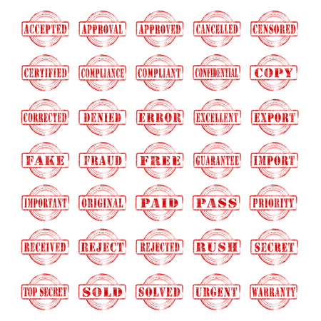 Set of various word stamps isolated on a white background.