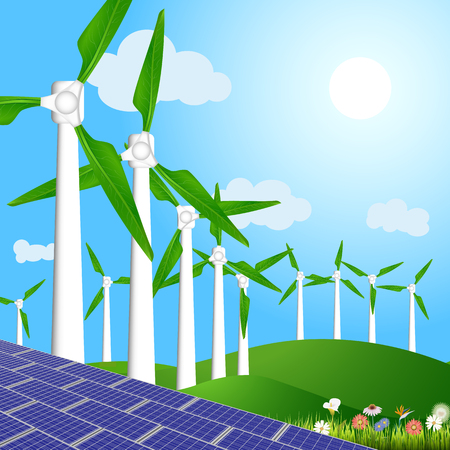 Vector illustration of wind turbines with green leaves and solar panels for generating environmental friendly and clean energy
