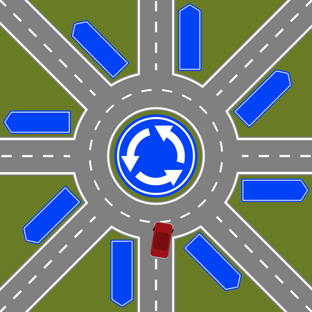 The traffic square representing the concept of a strategic dilemma choosing the right direction to go when facing multiple options. Illustration